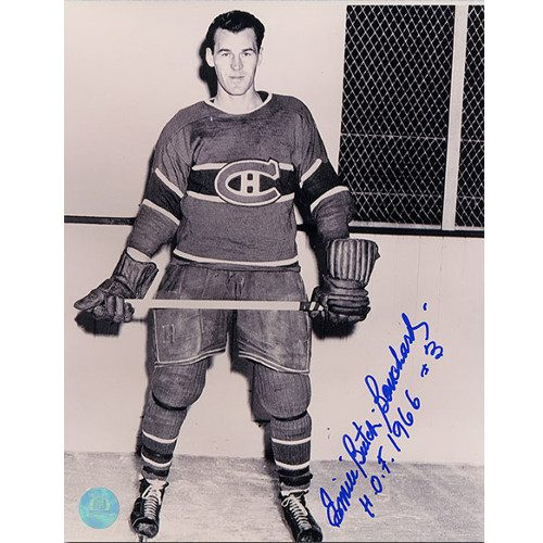 Butch Bouchard Montreal Canadiens Autographed Full Body Pose 8x10 Photo