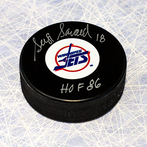 Serge Savard Signed Puck-Winnipeg Jets HOF Inscription