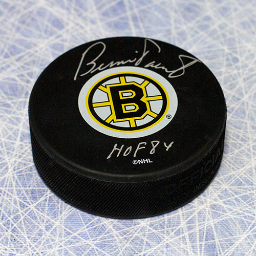 Bernie Parent Signed Puck-Boston Bruins with HOF Note