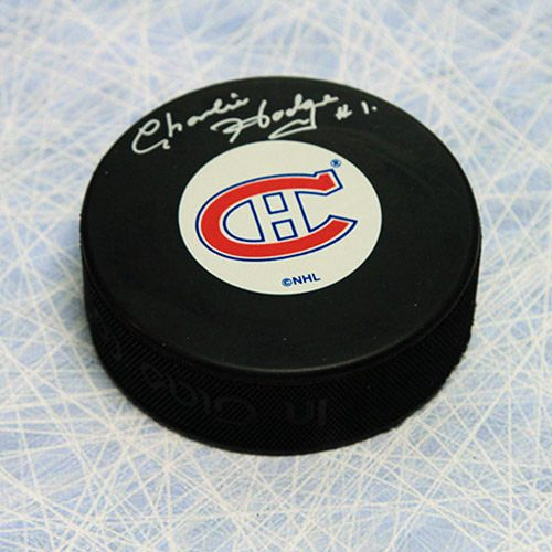Charlie Hodge Signed Puck-Montreal Canadiens Hockey Puck