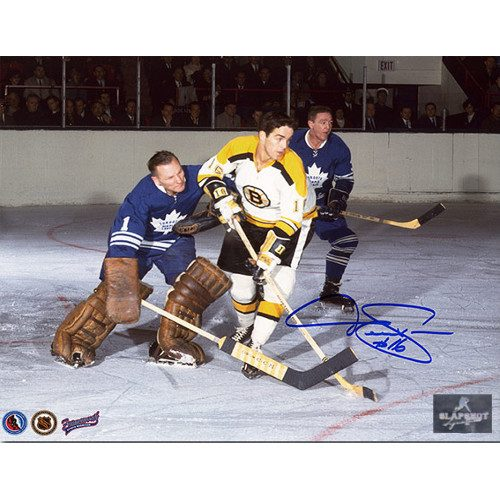 Derek Sanderson Boston Bruins Action vs Bower Signed Photo 8x10