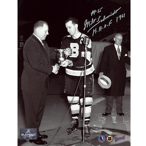 Milt Schmidt Signed Photo-Boston Bruins Hart Trophy MVP 8x10