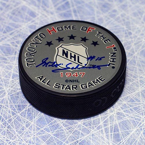 Milt Schmidt Signed Puck-1947 All Star First All Star Game