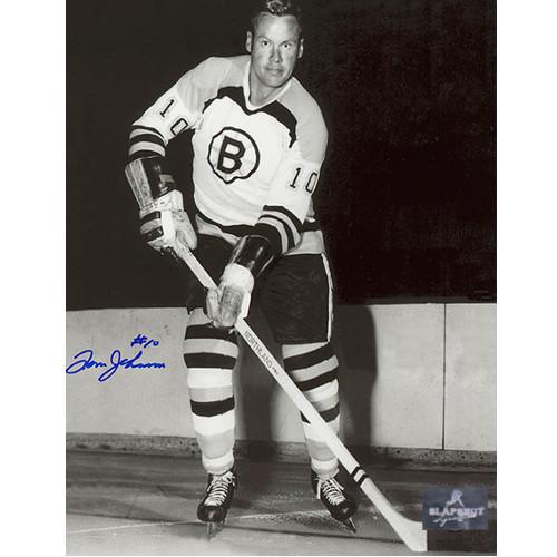 Tom Johnson Bruins Autographed Photo-Black & White 8x10
