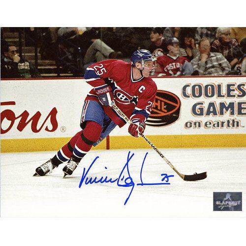 Vincent Damphousse Signed Photo-Montreal Canadiens Action 8x10