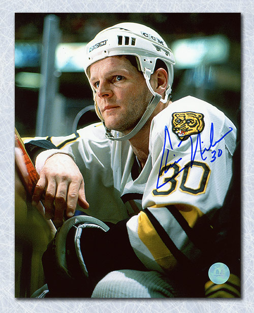Chris Nilan Signed Photo Boston Bruins In Penalty Box 8x10