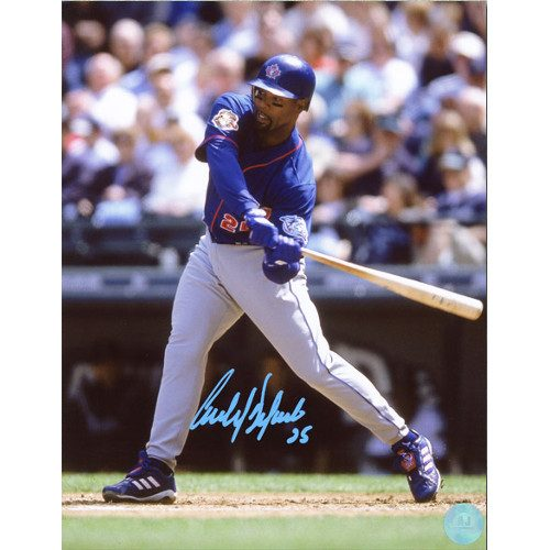 Carlos Delgado Autographed At Bat Photo Toronto Blue Jays 8x10 Photo