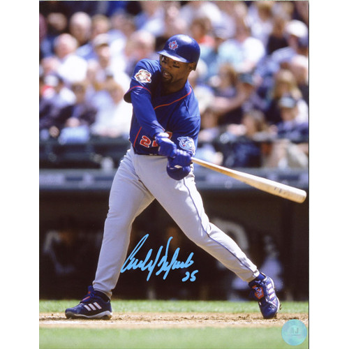 Carlos Delgado Autographed At Bat Photo Toronto Blue Jays 8x10 Photo