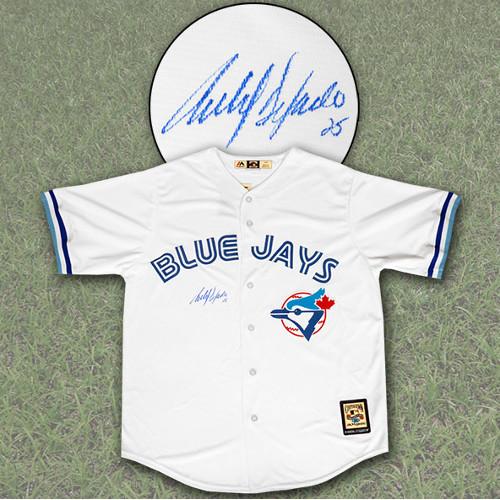 Carlos Delgado Jersey-Toronto Blue Jays Autographed Retro MLB Jersey