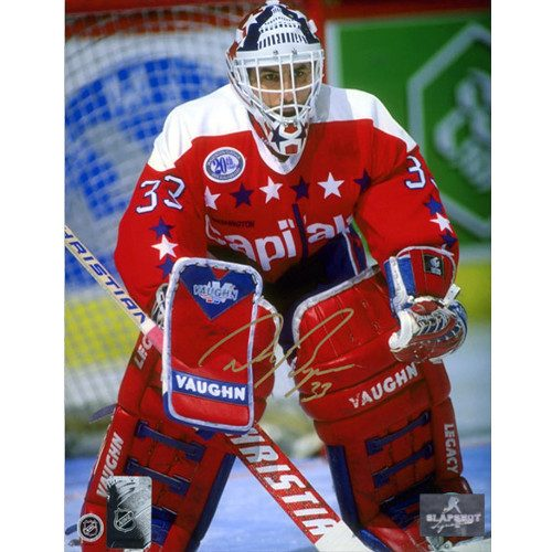 Don Beaupre Washington Capitals Autographed Goalie Net Closeup 8x10 Photo