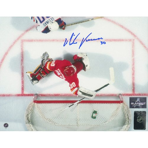 Mike Vernon Calgary Flames Overhead Signed 8x10 Photo