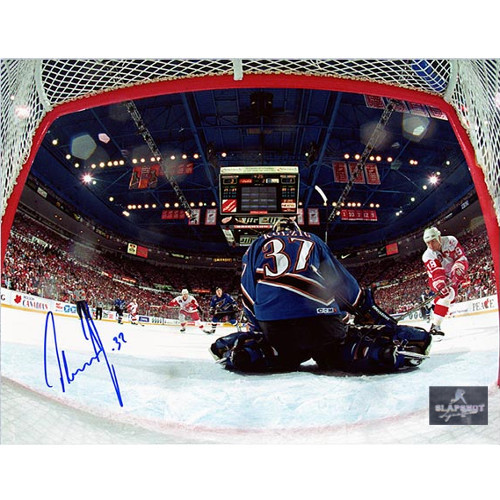 Olaf Kolzig Autographed Photo-Washington Capitals Cup Finals Net-Cam 8x10 Photo
