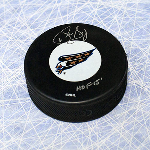 Phil Housley Washington Capitals Autographed Hockey Puck with HOF Note
