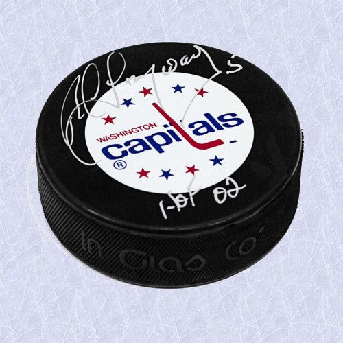 Rod Langway Hall of Fame Autographed Hockey Puck Washington Capitals