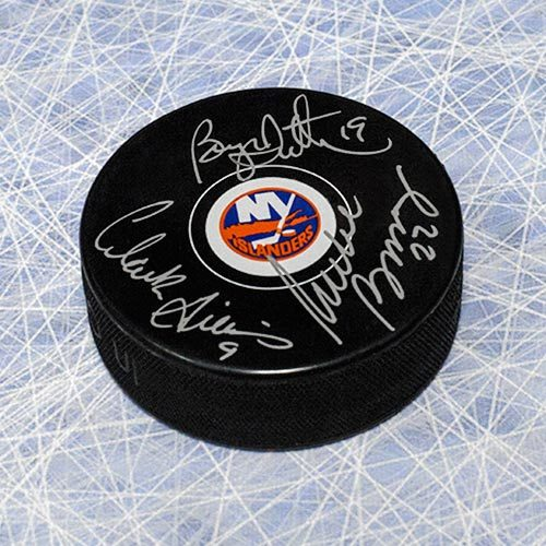Bossy Trottier Gillies Triple Signed NY Islanders Trio Grande Hockey Puck