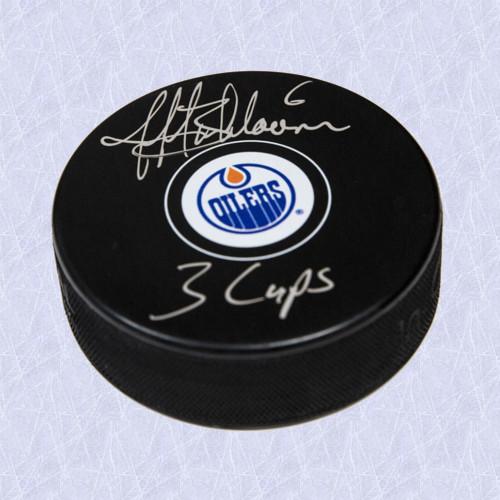 Jeff Beukeboom Autographed Puck 3 Cups Note Edmonton Oilers