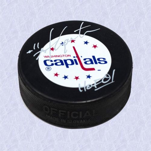 Mike Gartner Washington Capitals Autographed Hockey Puck with HOF Inscription