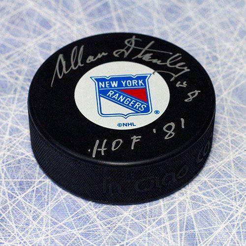 Allan Stanley Autographed Puck-New York Rangers HOF Note