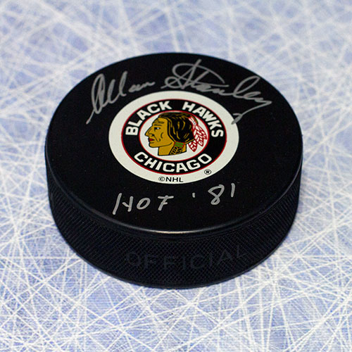 Allan Stanley Chicago Blackhawks Autographed Hockey Puck w/ HOF Note