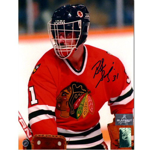Bob Sauve Chicago Blackhawks Autographed Goalie Closeup 8x10 Photo