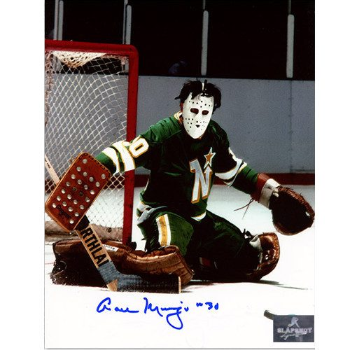 Cesare Maniago Minnesota North Stars Signed Butterfly Save 8x10 Photo