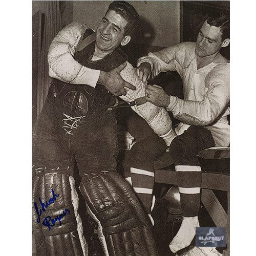 Chuck Rayner New York Rangers Autographed Dressing Room 8x10 Photo