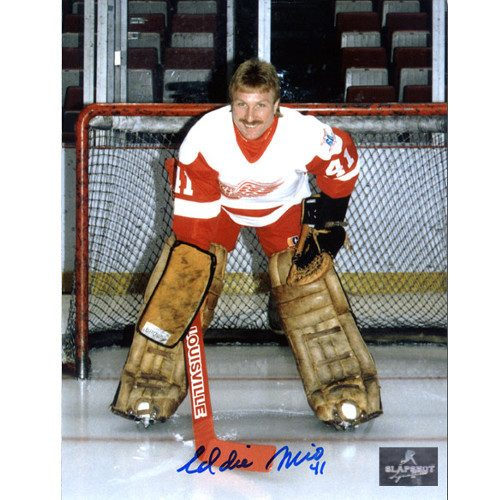 Eddie Mio Detroit Red Wings Autographed Goalie Pose 8x10 Photo