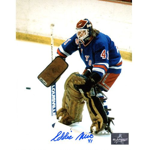 Eddie Mio New York Rangers Autographed Goalie 8x10 Photo
