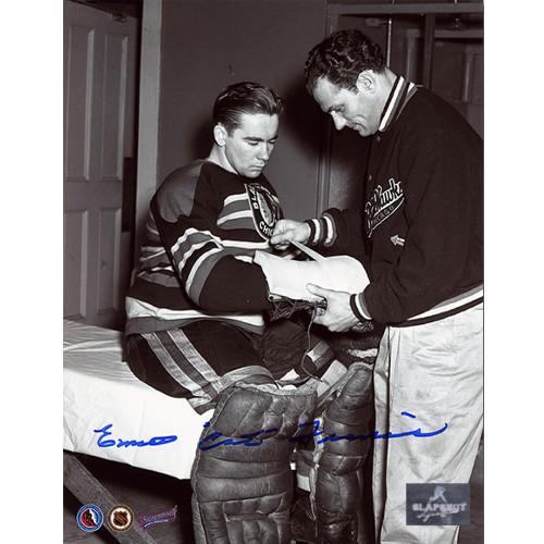 Emile Francis Chicago Blackhawks Signed Black & White Goalie 8x10 Photo