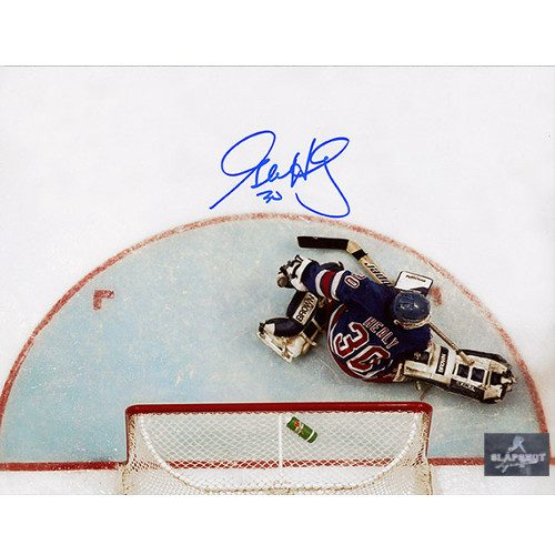 Glenn Healy New York Rangers Autographed Overhead 8x10 Photo