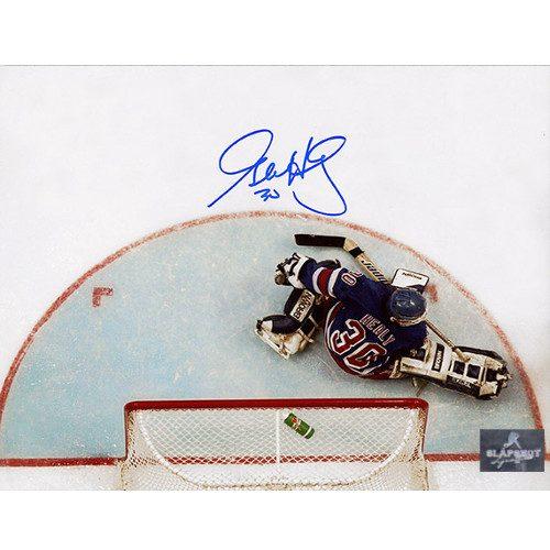 Glenn Healy New York Rangers Autographed Overhead 8x10 Photo