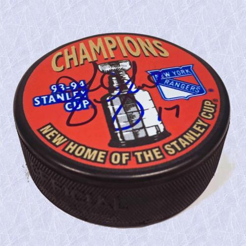 Greg Gilbert Stanley Cup 1994 New York Rangers Autographed Puck