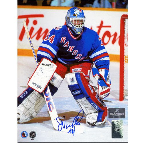John Vanbiesbrouck New York Rangers Autographed Beezer Mask 8x10 Photo