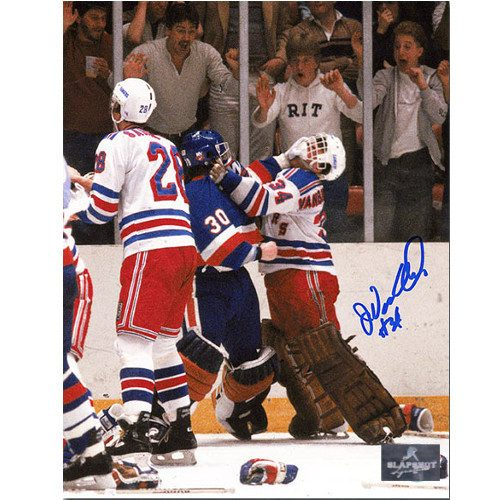 John Vanbiesbrouck New York Rangers Autographed Fight vs Hrudey 8x10 Photo