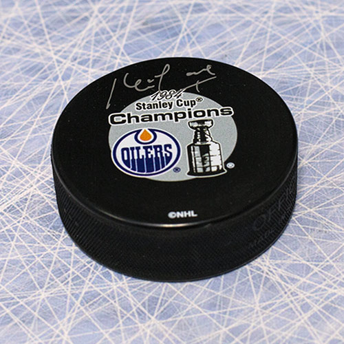 Kevin Lowe Autograph Edmonton Oilers 1984 Stanley Cup Puck