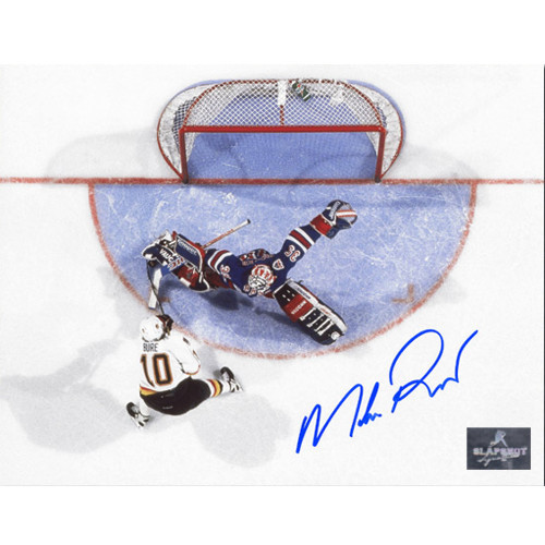 Mike Richter Signed Photo-New York Rangers Overhead Breakaway Save 8x10
