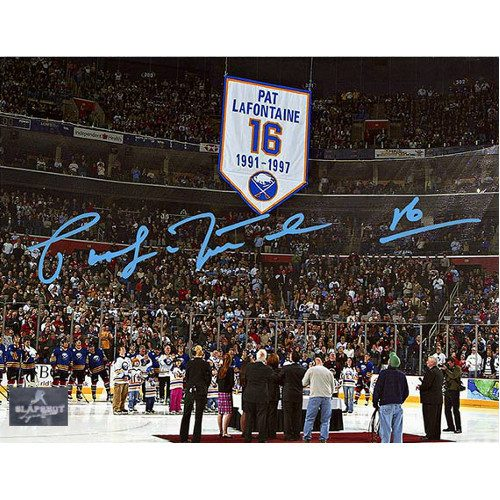 Pat LaFontaine Jersey Retirement Autographed Buffalo Sabres 8x10 Photo
