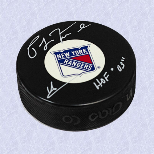 Pat LaFontaine New York Rangers Autographed Hockey Puck w/ HOF Inscription