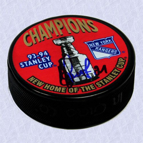 Sergei Zubov Rangers Autographed Hockey Puck-1994 Stanley Cup