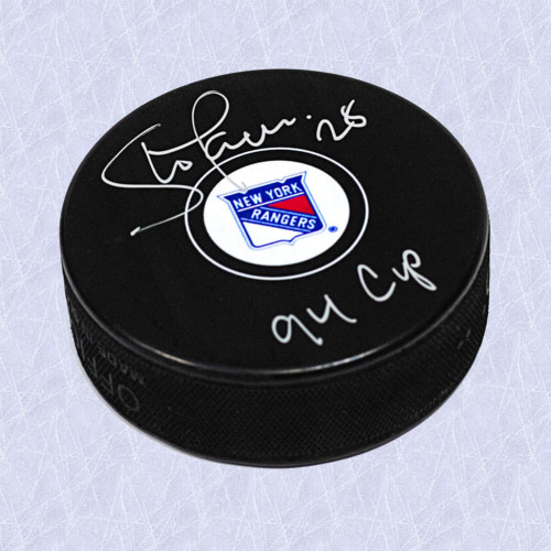 Steve Larmer Autographed Puck 94 Cup Note-New York Rangers