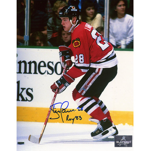 Steve Larmer Chicago Blackhawks Signed Playmaker 8x10 Photo w/ ROY 83 Note