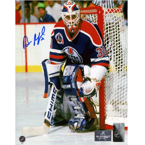 Bill Ranford Signed Photo-1990 Stanley Cup Action 8x10 Photo-Edmonton Oilers