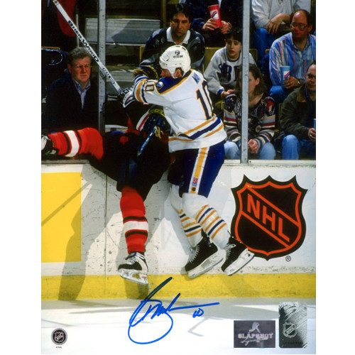 Brad May Buffalo Sabres Autographed Crushing Check 8x10 Photo