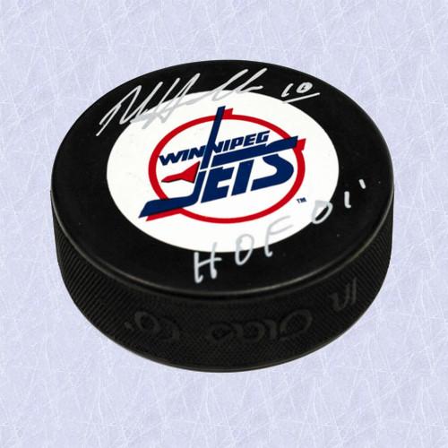 Dale Hawerchuk Hall of Fame Signed Puck-Winnipeg Jets