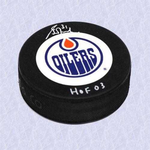Grant Fuhr Signed Puck-Edmonton Oilers Puck w/ HOF 03 Note