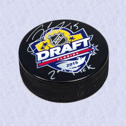 Jack Eichel 2015 NHL Draft Day Puck Autographed w/ 2nd Pick Inscription