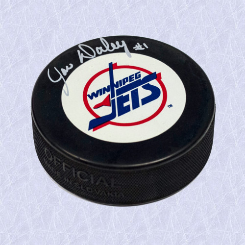 Joe Daley Winnipeg Jets Autographed Vintage Logo Hockey Puck