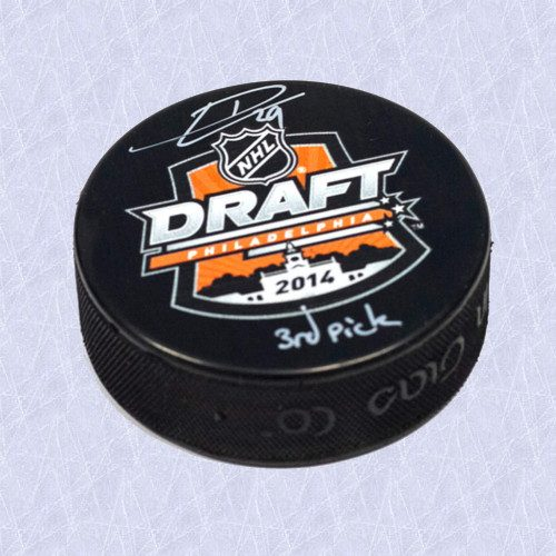 Leon Draisaitl Draft Day 2014 Puck Autographed w/ 3rd Pick Inscription