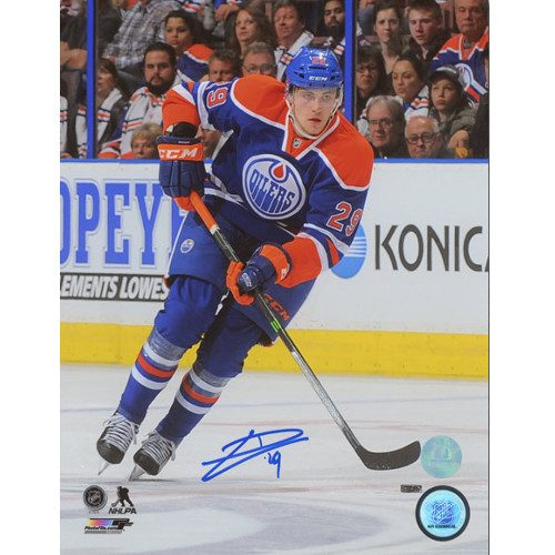 Leon Draisaitl NHL First Career Game Edmonton Oilers Signed 8x10 Photo