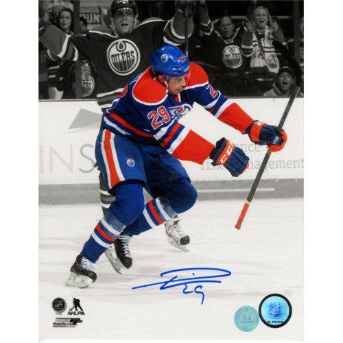 Leon Draisaitl Signed Photo-Edmonton Oilers 1st NHL Goal Spotlight 8x10 Photo